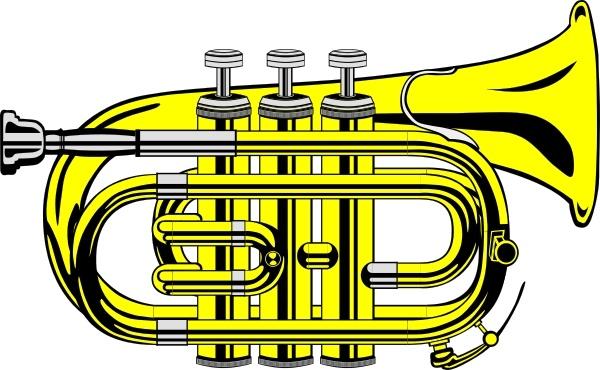 B clipart flat. Pocket trumpet colour clip