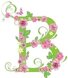 B clipart floral.  decorative letter with