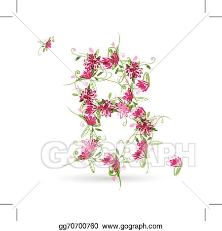 B clipart floral. Vector stock letter for