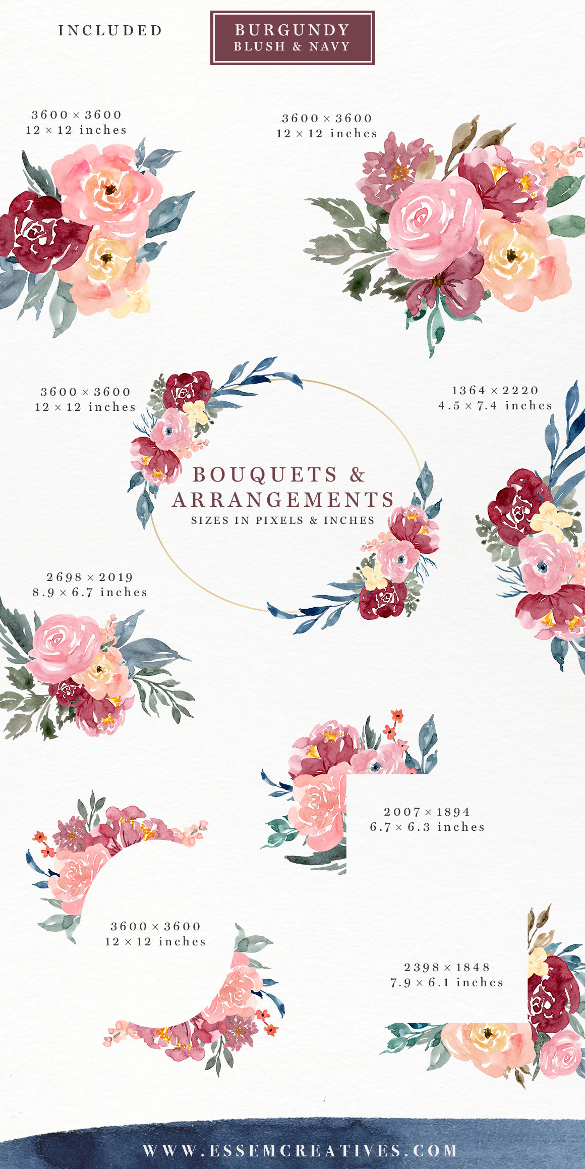 Burgundy blush navy watercolor. B clipart floral