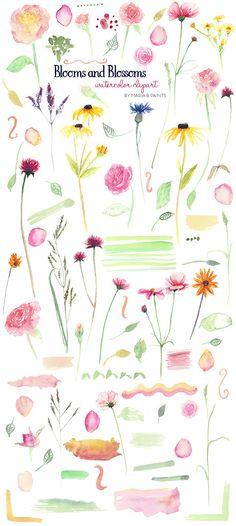 Watercolour elements create wreath. B clipart floral