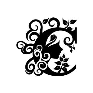 B clipart floral. Flower black alphabet c