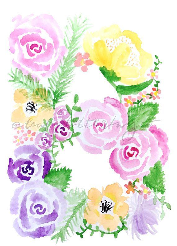 DIGITAL Letter B Floral Monogram