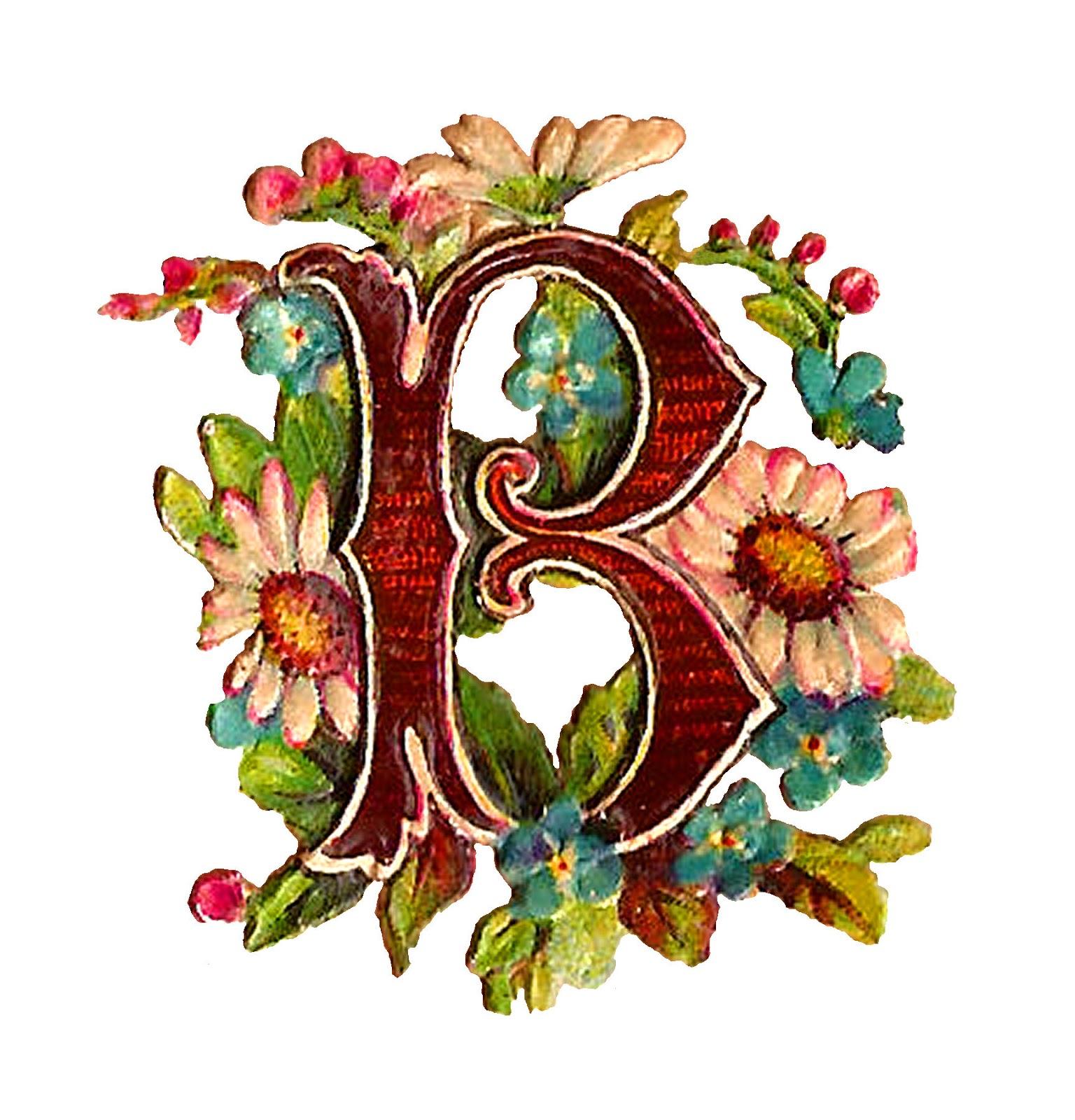B clipart floral. Antique images free drop