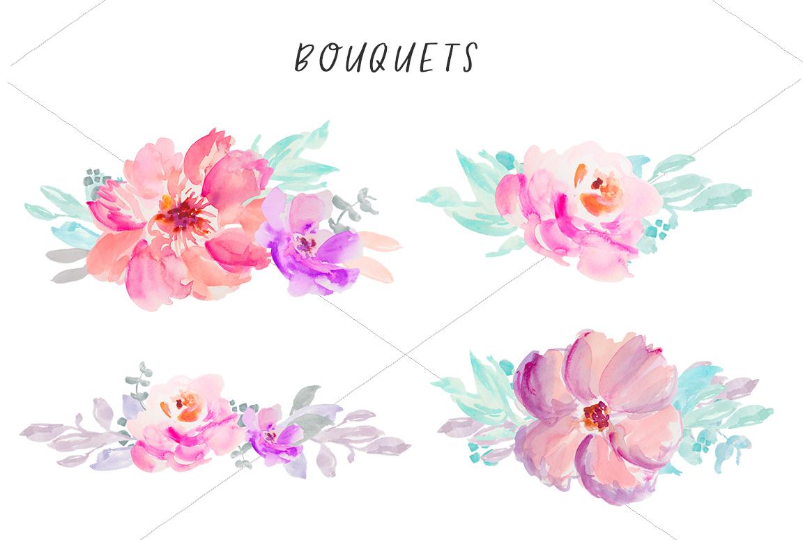 B clipart floral. Watercolor clip art flowers