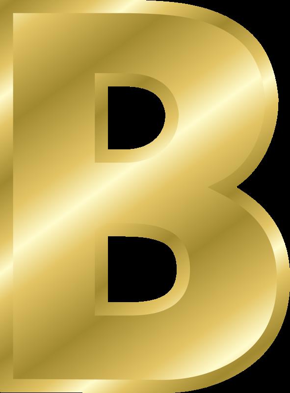 Effect letters alphabet medium. B clipart gold
