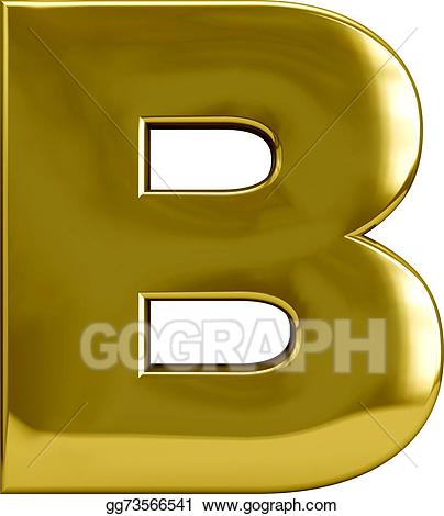 Metal letter stock illustration. B clipart gold