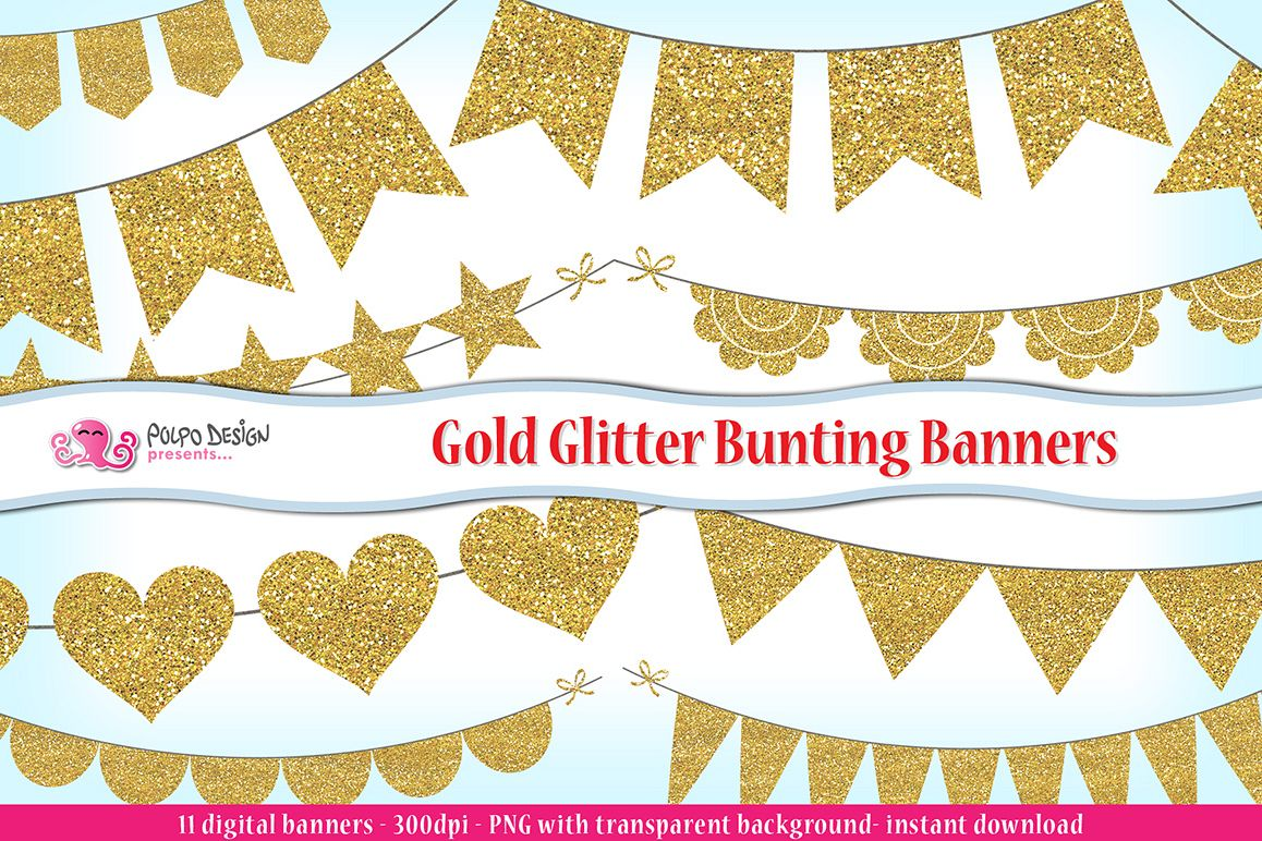 Glitter bunting banners clip. B clipart gold