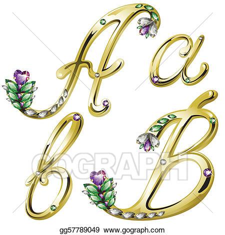 B clipart gold. Vector art jewelry alphabet