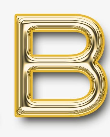 Metallic letter alphanumeric modern. B clipart gold