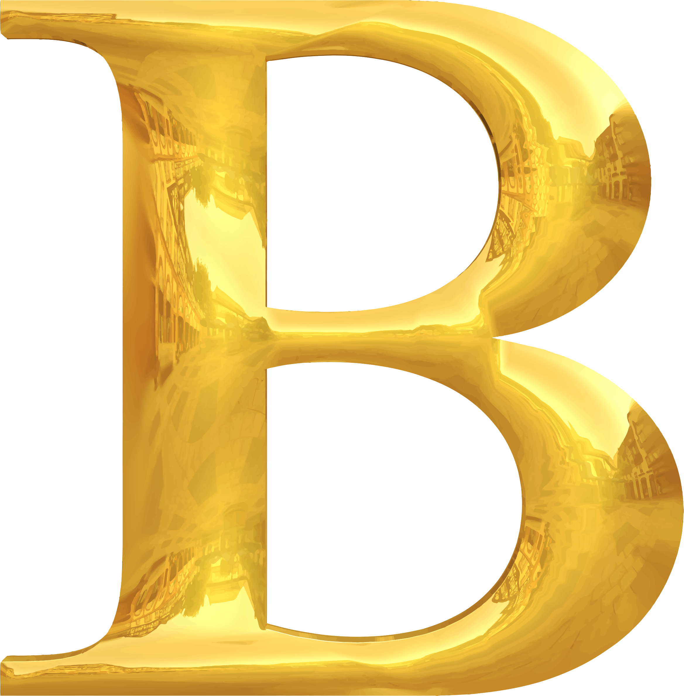 Typography big image png. B clipart gold