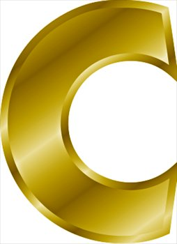 B clipart gold. Free letter c graphics
