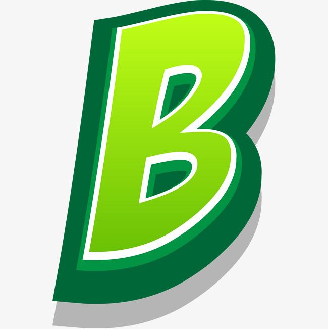 Dark letters uppercase letter. B clipart green