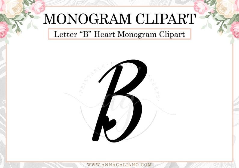 Letter heart monogram png. B clipart initial