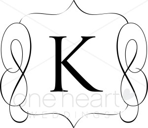 Classic monogram k wedding. B clipart initial