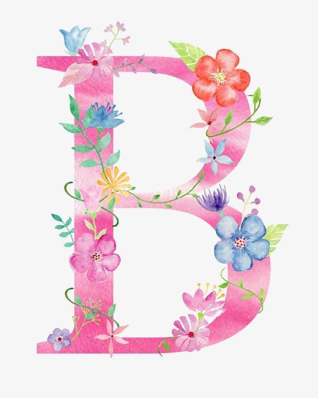 B clipart later. Flowers letter flower png
