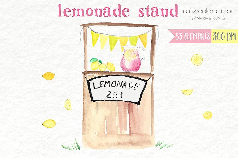B clipart later. Watercolor clip art lemonade