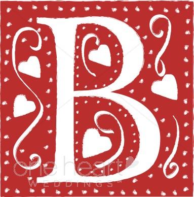 Red letter wedding heart. B clipart lettter