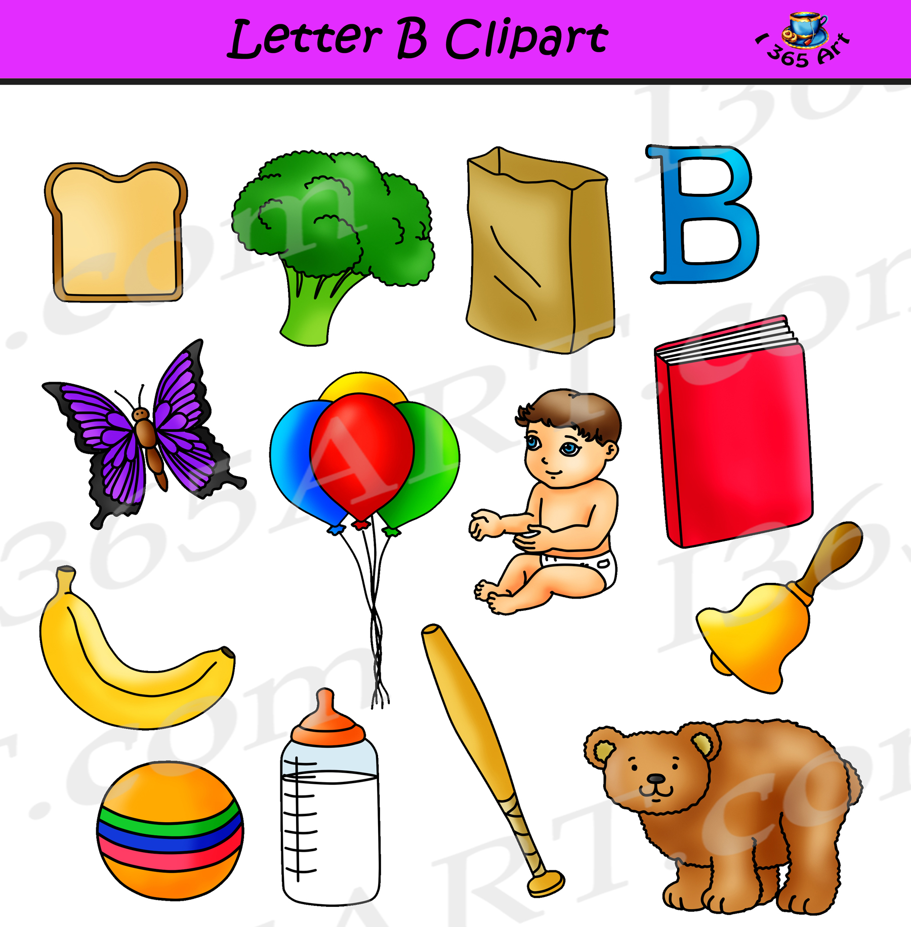 Letter objects learning the. B clipart lettter