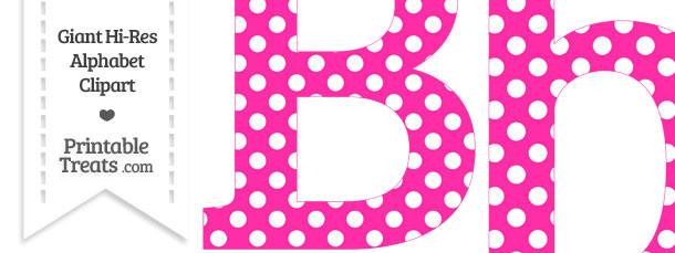 B clipart lettter. Hot pink polka dot