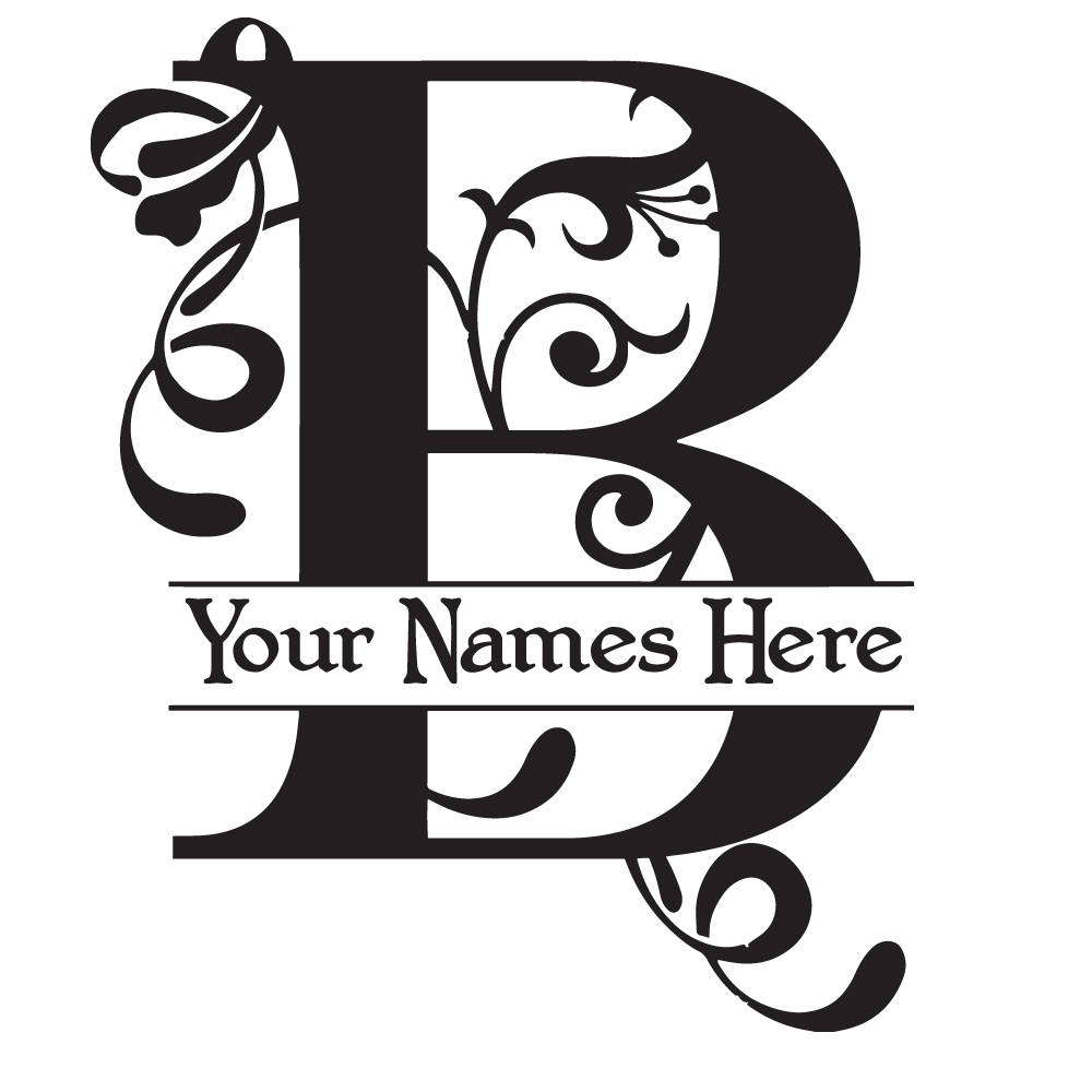 B clipart monogram. Flourish with initial and