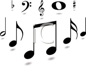 A black and white. B clipart music note