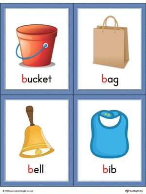 Letter words and pictures. B clipart printable