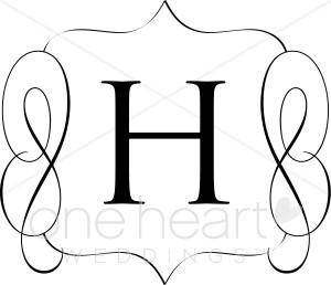 B clipart printable. Classic monogram h wedding