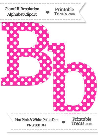 B clipart printable. Hot pink polka dot