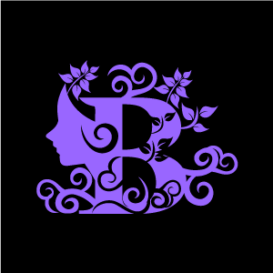 B clipart purple. Flower alphabet with black