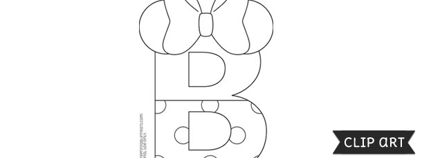 B clipart template. Minnie mouse style letter