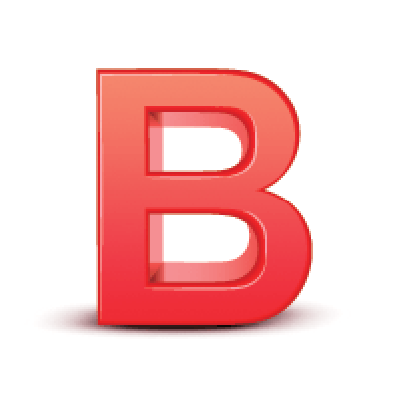 B clipart text.  d red letter