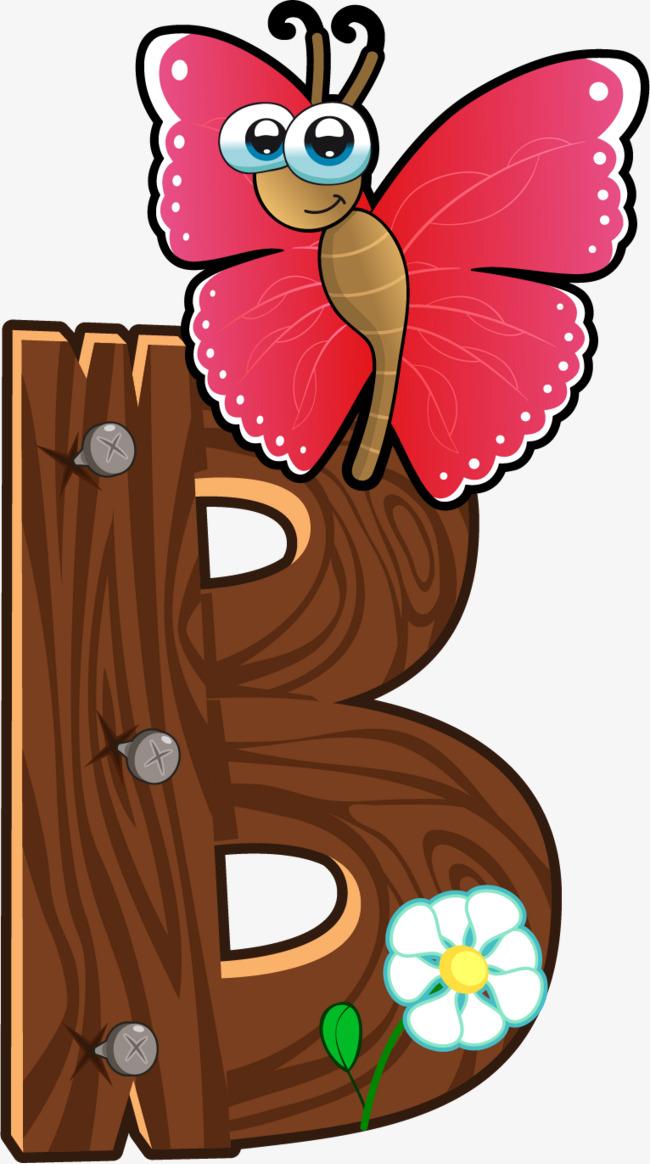 Cartoon wooden animals letter. B clipart wood