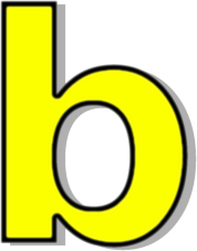 Lowercase signs symbol alphabets. B clipart yellow