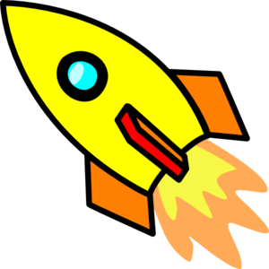 Rocket clip art at. B clipart yellow