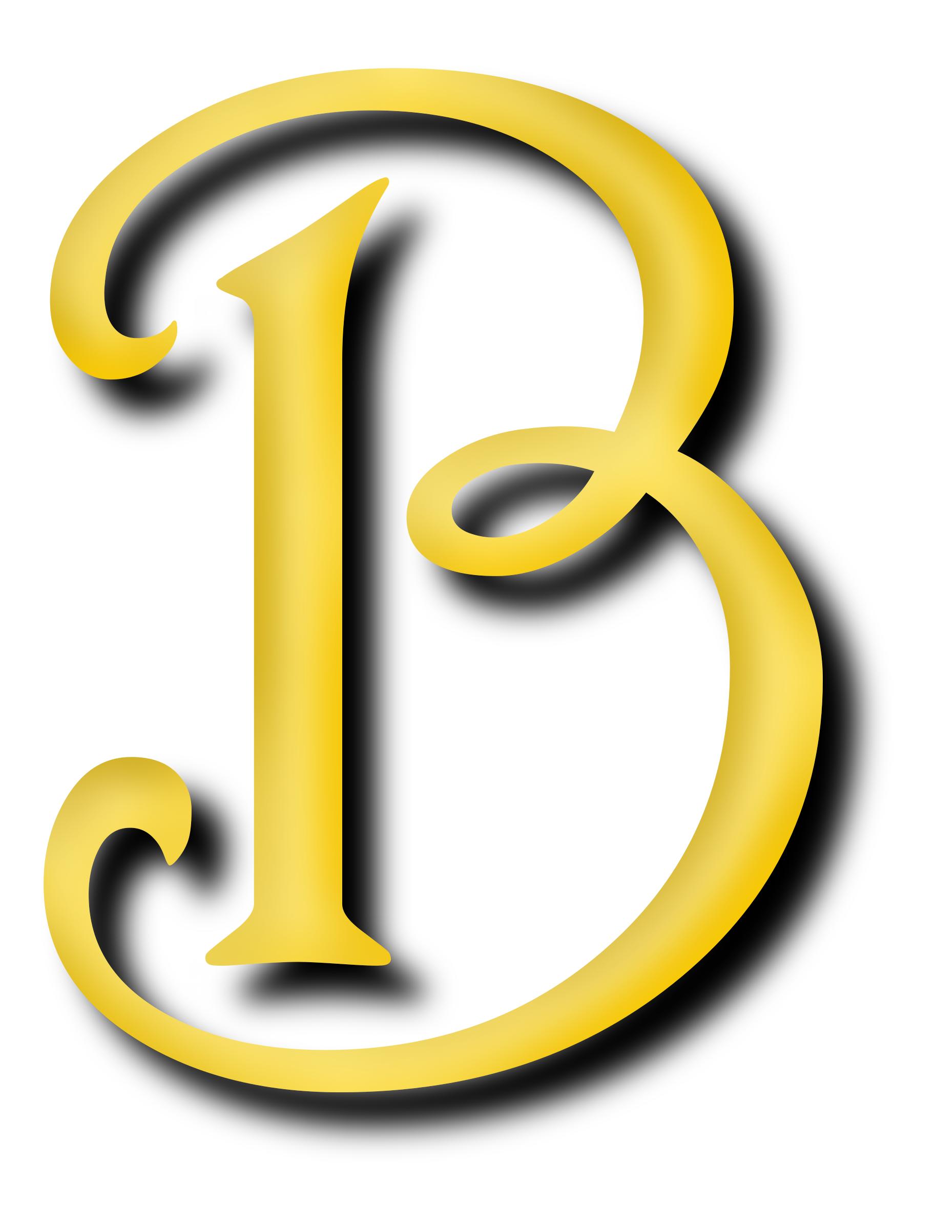 Alphabet letter big image. B clipart yellow