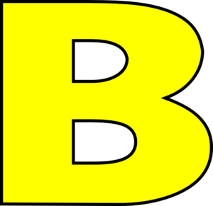 Dark outline clip art. B clipart yellow