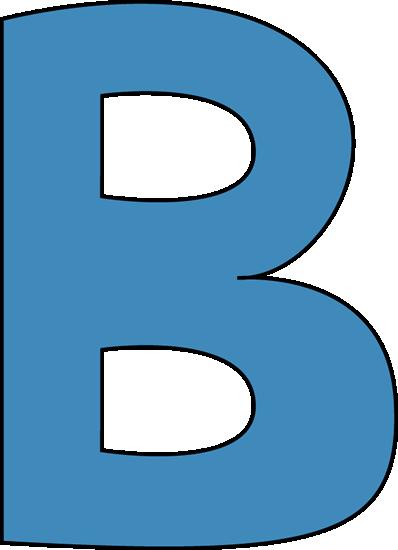 Blue alphabet letter clip. B clipart