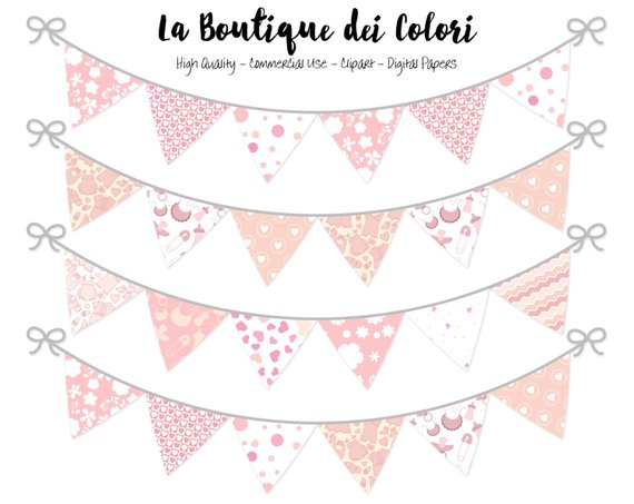 Baby girl bunting party. Banners clipart cute