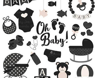Babies clipart black and white. Baby shower etsy premium