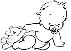 Babies clipart black and white. Just the drawing no