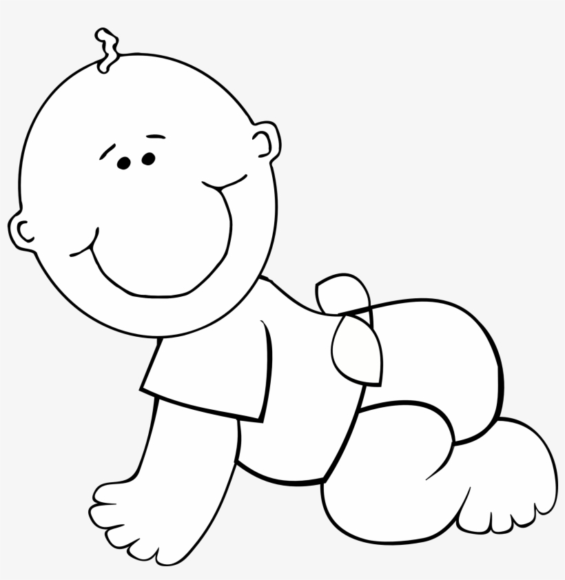 Baby clipart outline. Boy black and white