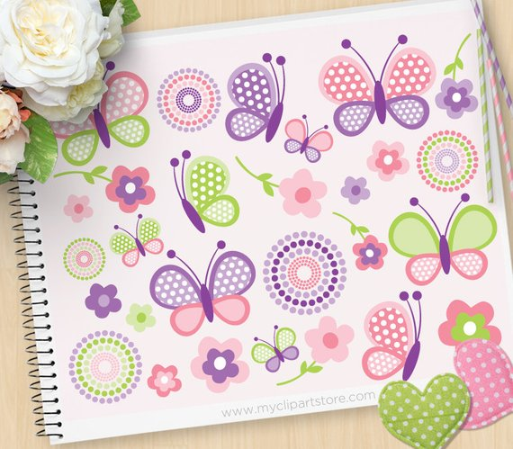 Babies clipart butterfly. Pink and purple butterflies