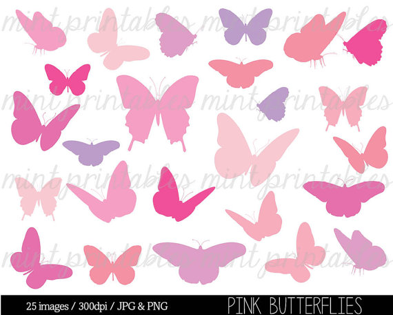 Pink clip art silhouettes. Babies clipart butterfly