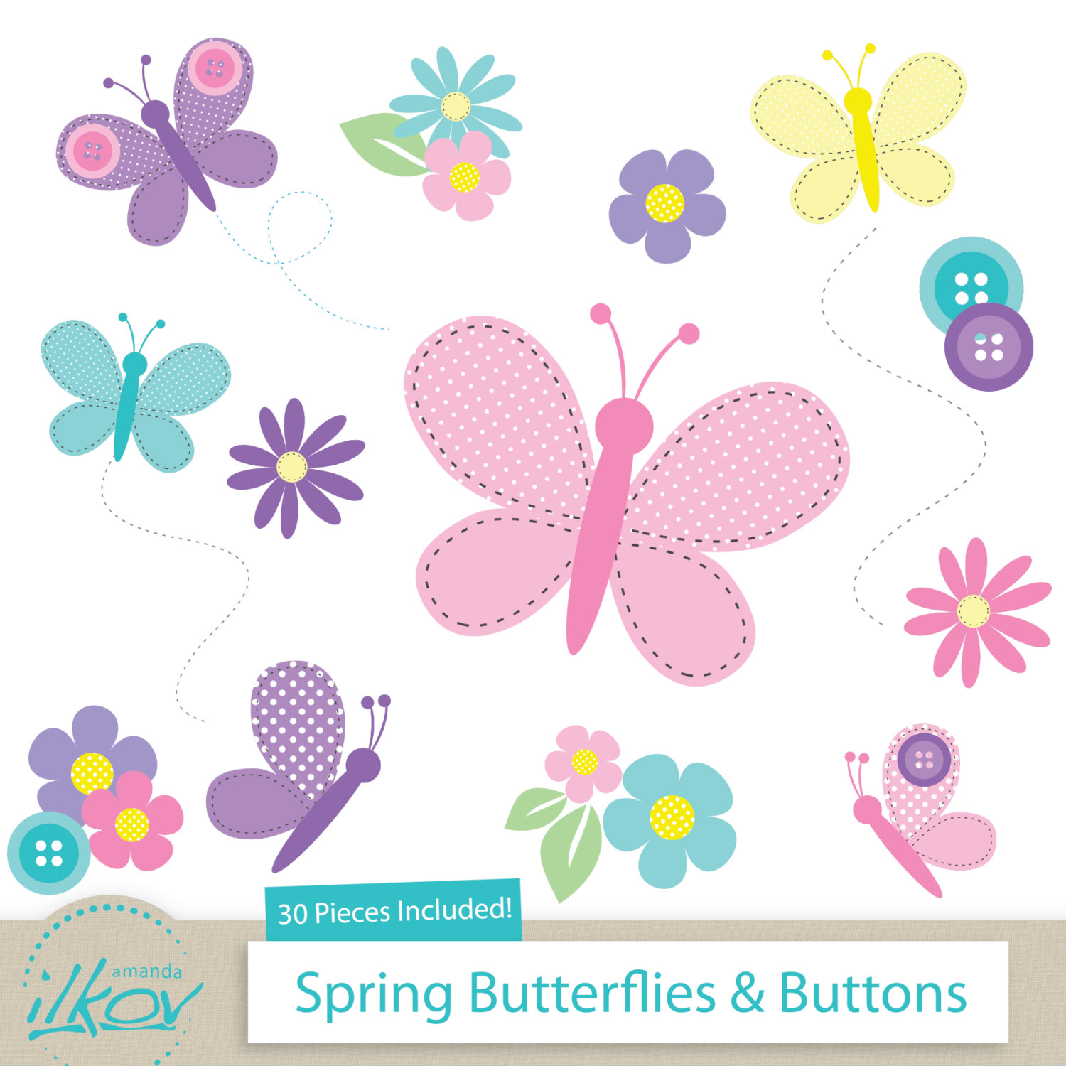 Baby clipart spring. Butterflies buttons for digital