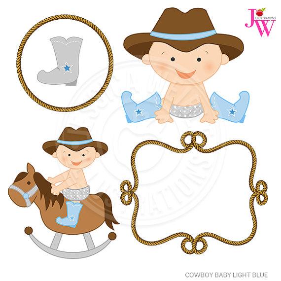 Babies clipart cowboy. Light blue baby cute