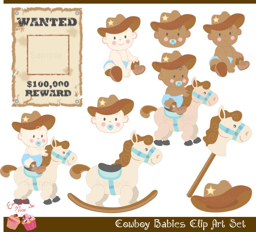 Babies clipart cowboy. Cute clip art set