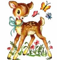 Vintage . Babies clipart fawn