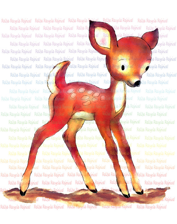 Baby deer watercolor spotted. Babies clipart fawn