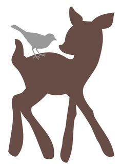 Baby deer silhouette at. Babies clipart fawn
